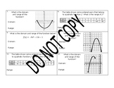 Reporting Category 4: Practice Problems - Quadratic Functions and Equations