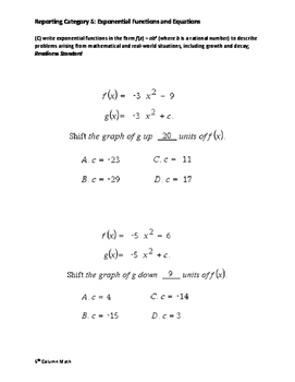 Reporting Category 5: Exponential Functions and Equations