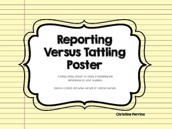 Reporting Versus Tattling