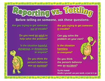 "Reporting Vs.Tattling- 8½"" x 11"""