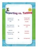 Reporting Vs. Tattling (Behavior Management, Classroom Dec