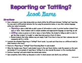 Reporting or Tattling Scoot Game (character education, anti-bullying, respect)