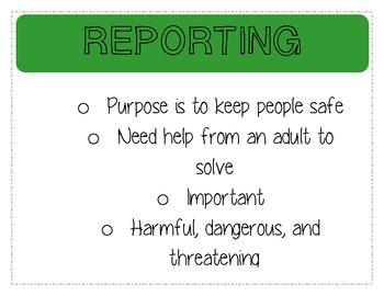 Reporting vs. Tattling Anchor Chart