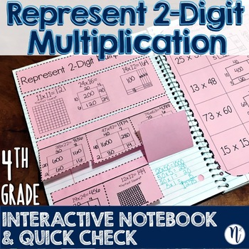 Represent 2-Digit Multiplication Interactive Notebook & Quick Check TEKS 4.4C