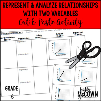 Represent & Analyze Relationships with Two Variables Cut & Paste Activity