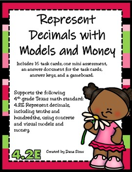 Represent Decimals with Models and Money (TEKS 4.2E) STAAR Practice