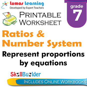 Represent Proportions by Equations Printable Worksheet, Grade 7