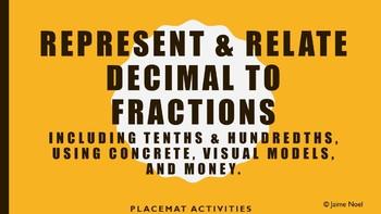 Represent & Relate Decimals to Fractions using Manipulatives, Visuals, & Money