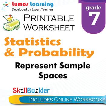Represent Sample Spaces Printable Worksheet, Grade 7