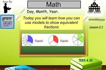 Represent equivalent fractions using models.