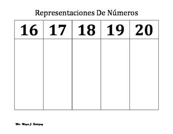 Representaciones de Numeros 1-20