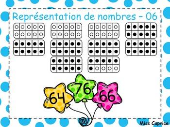 Représentation de nombres - 61 à 100 - 1re année