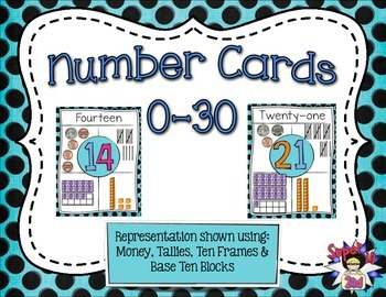 Representational Number Posters 0-30 Black&Blue Dots