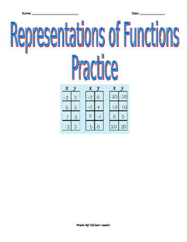 Representations of Functions Practice