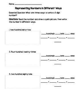 Representing 3 Digit numbers in many ways worksheet