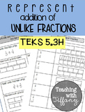 Representing Addition of Unlike Fractions with Pictorial Models TEKS 5.3H