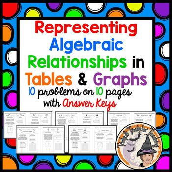 Representing Algebraic Relationships in Tables and Graphs Equations 10 Pages