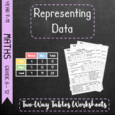 Representing Data - Two-Way Tables Worksheets