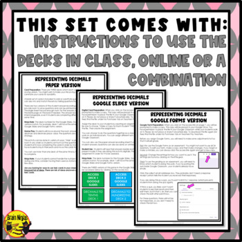 Representing Decimals Task Cards Grades 4-5