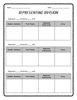 Representing Division Worksheet