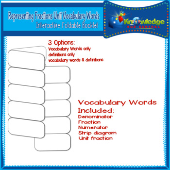 Representing Fractions Unit Vocabulary Words Interactive Foldable for 3rd Grade