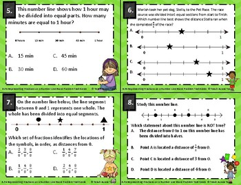 3.7A Representing Fractions on a Number Line Word Problem Task Cards STAAR