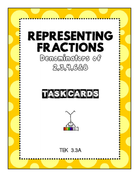 Representing Fractions with Denominators 2,3,4,6,&8 - Task Cards 3.3A