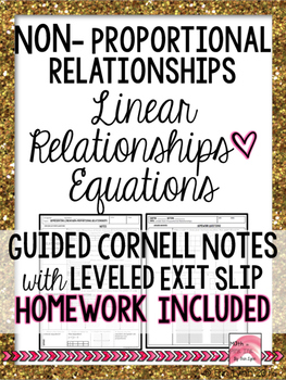 Representing Linear Non-Proportional Relationships Cornell Notes 8.F.3 Go Math