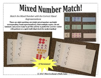 Representing Mixed Numbers Match