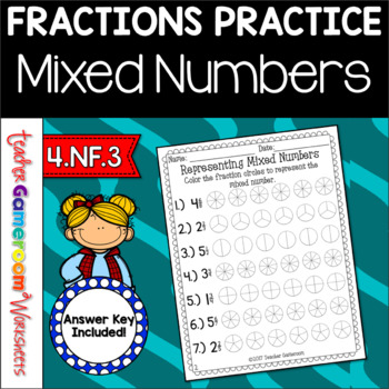 Representing Mixed Numbers Worksheet