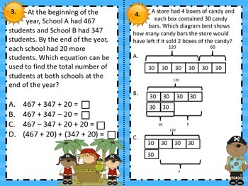 3.5A Representing Multi-step Add/Sub Problems  Computation Task Cards STAAR