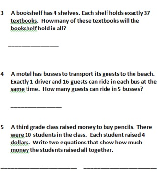 Representing Multiplication & Division Word Problems 4 Pretests/Posttests