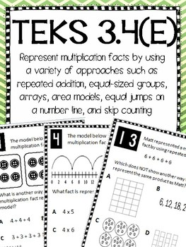 Representing Multiplication TEKS 3.4E Task Cards