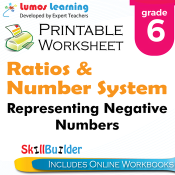 Representing Negative Numbers Printable Worksheet, Grade 6