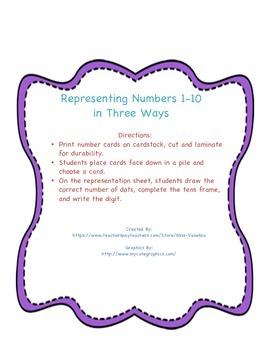 Representing Numbers 1-10 In Three Ways