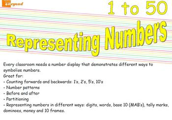 Representing Numbers 1 to 50 - Maths numbers display board - counting