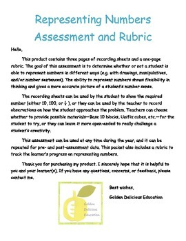 Representing Numbers Assessment and Rubric