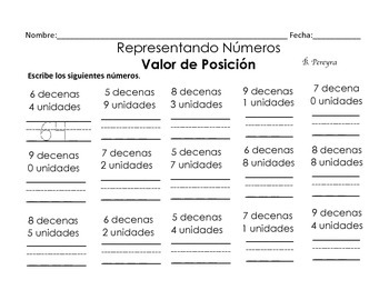 Representing Numbers English and Spanish using Place Value