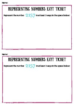 Representing Numbers Exit Ticket