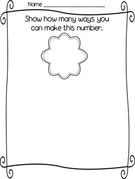 Number Recognition: Showing ways to make 1-10