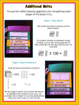 Representing Numbers: a Math Book-tivity