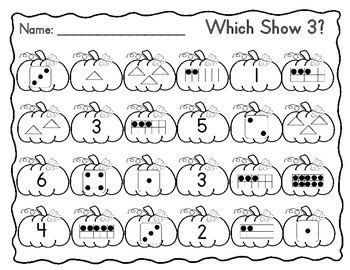 Representing Numbers in Different Ways (1-10) Fall Theme