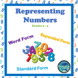 Representing Numbers in Standard Form, Word Form and Expanded Form 2 to 4-Digits