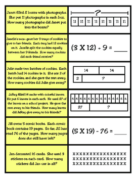 Representing One- and Two-Step Problems Matching Game TEKS 3.5B