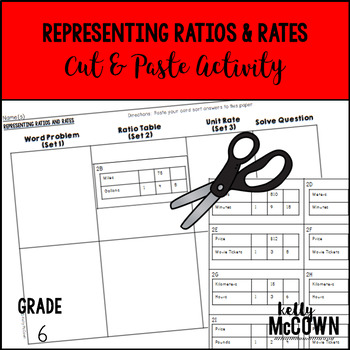 Representing Ratios and Unit Rates Cut & Paste Activity