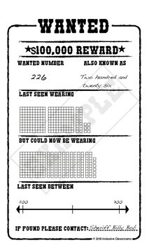 Representing Whole Numbers Wanted Poster