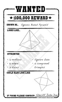 Drawing & Describing 3D Shapes Wanted Poster