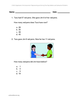 """Representing and Solving Addition and Subtraction Problems"" Mini-assessment"