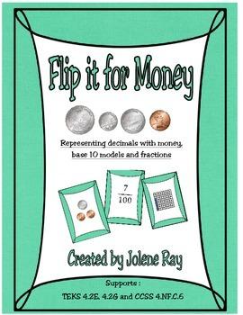 Representing decimals with money, base-10 blocks & fractio