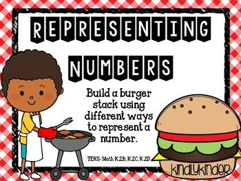 Representing numbers: Build-a-burger! (Math TEKS: K.2B, K.2C, K.2C)